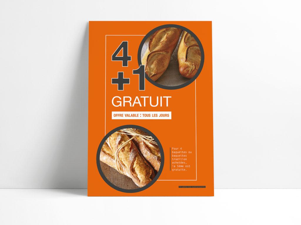 Affiche pain l'atelier artisan boulanger patissier