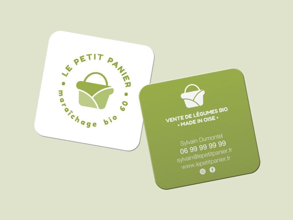 Carte de visite le petit panier vente de légumes bio dans les hauts de France