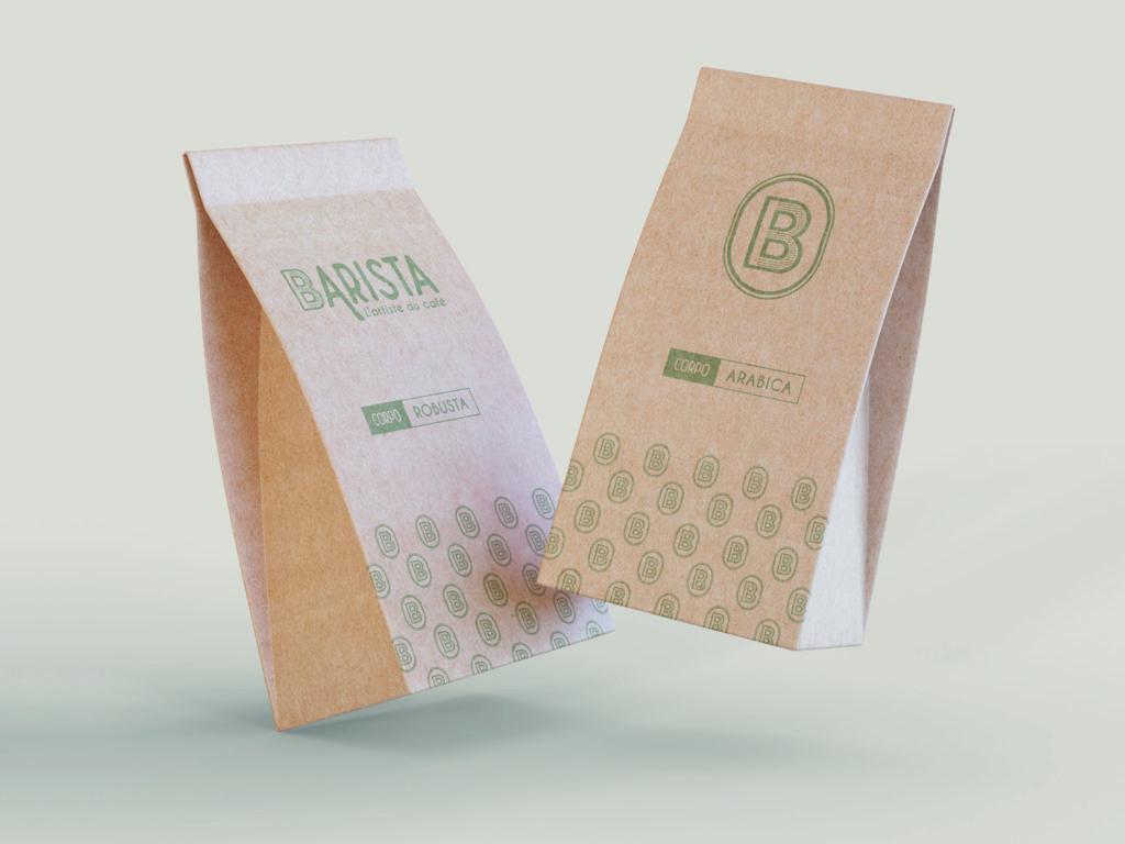 Identité visuelle packaging Barista vente de café moulu, en grain à plusieurs parfums