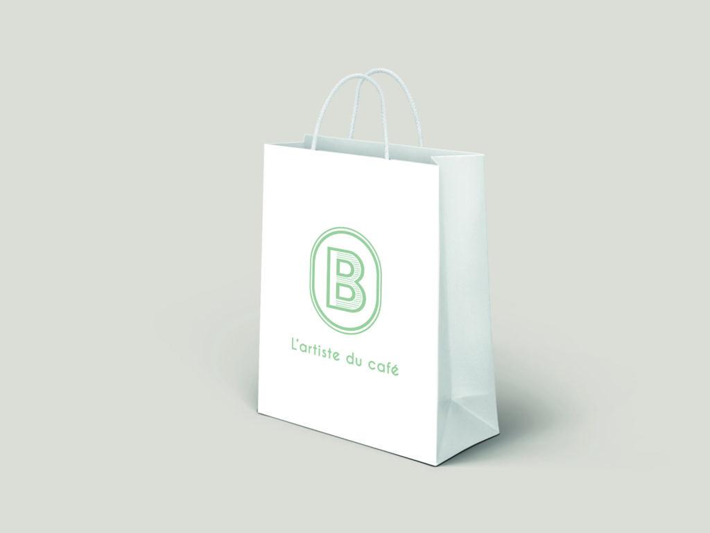 Identité visuelle sac shopping Barista vente de café moulu, en grain à plusieurs parfums